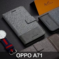 OPPO A71 (2018) Canvas Leather Flip Card Case