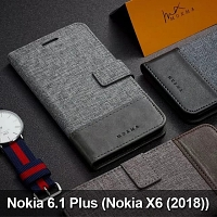 Nokia 6.1 Plus (Nokia X6 (2018) Canvas Leather Flip Card Case
