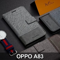 OPPO A83 Canvas Leather Flip Card Case