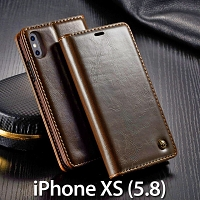 iPhone XS (5.8) Magnetic Flip Leather Wallet Case