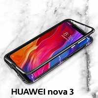 Huawei nova 3 Magnetic Aluminum Case with Tempered Glass