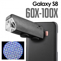 Samsung Galaxy S8 60X-100X UltraClear Magnifying Microscope with Back Cover and Brightness LED