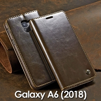 Samsung Galaxy A6 (2018) Magnetic Flip Leather Wallet Case