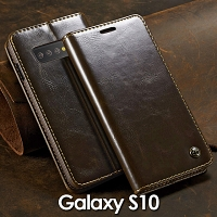 Samsung Galaxy S10 Magnetic Flip Leather Wallet Case