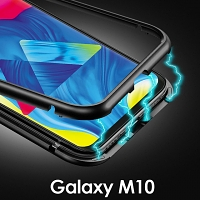 Samsung Galaxy M10 Magnetic Aluminum Case with Tempered Glass