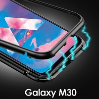 Samsung Galaxy M30/A40s Magnetic Aluminum Case with Tempered Glass