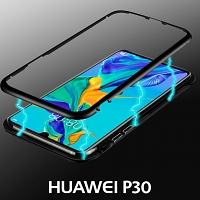 Huawei P30 Magnetic Aluminum Case with Tempered Glass