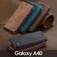 Samsung Galaxy A40 Retro Flip Leather Case