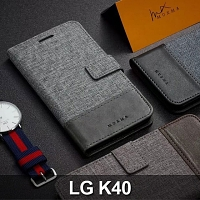 LG K40 Canvas Leather Flip Card Case