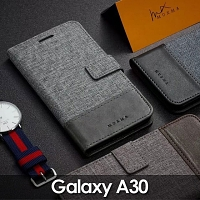 Samsung Galaxy A30 Canvas Leather Flip Card Case