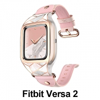 i-Blason Cosmo Sporty Case with Leather Wristband (Marble) for Fitbit Versa 2