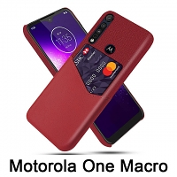 Motorola One Macro Two-Tone Leather Case with Card Holder