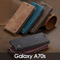 Samsung Galaxy A70s Retro Flip Leather Case