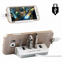 4-Port Hub microUSB OTG Dock with Smartphone Stand
