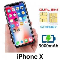 3-In-1 Dual SIM Card Power Jacket for iPhone X