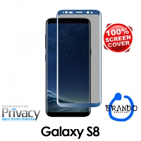 Brando Workshop Full Screen Coverage Curved Privacy Glass Screen Protector (Samsung Galaxy S8) - Blue