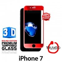 Brando Workshop Full Screen Coverage Curved 3D Glass Protector (iPhone 7) - Product Red