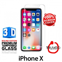 Brando Workshop Full Screen Coverage Curved 3D Glass Protector (iPhone X) - White