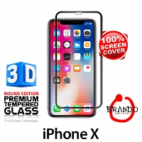 Brando Workshop Full Screen Coverage Curved 3D Glass Protector (iPhone X) - Black
