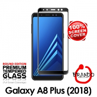 Brando Workshop Full Screen Coverage Curved Glass Protector (Samsung Galaxy A8+ (2018)) - Black