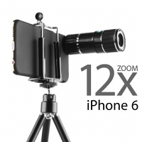 Professional iPhone 6 / 6s 12x Zoom Telescope with Tripod Stand (Black)