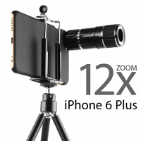 Professional iPhone 6 Plus 12x Zoom Telescope with Tripod Stand (Black)