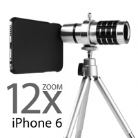 Professional iPhone 6 12x Zoom Telescope with Tripod Stand (Silver)