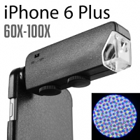 iPhone 6 Plus / 6s Plus 60X-100X UltraClear Magnifying Microscope with Back Cover and Brightness LED