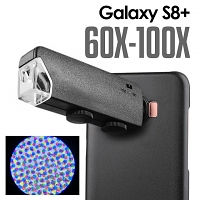 Samsung Galaxy S8+ 60X-100X UltraClear Magnifying Microscope with Back Cover and Brightness LED