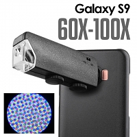 Samsung Galaxy S9 60X-100X UltraClear Magnifying Microscope with Back Cover and Brightness LED