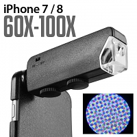 iPhone 7 / 8 60X-100X UltraClear Magnifying Microscope with Back Cover and Brightness LED