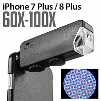 iPhone 7 Plus / 8 Plus 60X-100X UltraClear Magnifying Microscope with Back Cover and Brightness LED