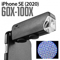 iPhone SE (2020) 60X-100X UltraClear Magnifying Microscope with Back Cover and Brightness LED