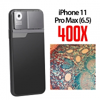 iPhone 11 Pro Max (6.5) 400X UltraClear Magnifying Microscope with Back Cover and Brightness LED