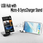 USB Hub with Micro-B SyncCharger Stand