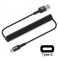 Curled Type-C USB Cable