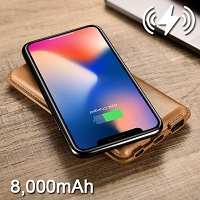 Leather Wireless Charger Power Bank (8000mAh)