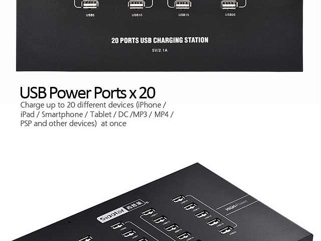 20-Port USB Charge Station