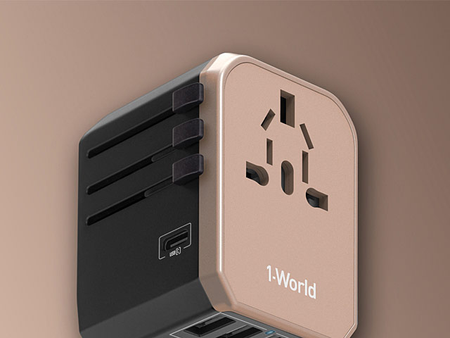 Momax 1-World USB AC Travel Adapter (Type-C + 4 USB-A)