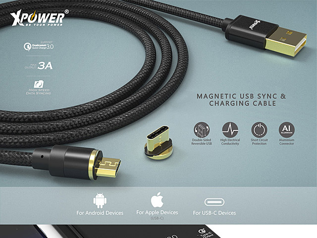 XPower Magnetic 2-in-1 USB Sync & Charging Cable (Type-C + microUSB)