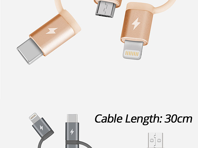 Momax One Link 3-in-1 Fast Charge Sync USB cable