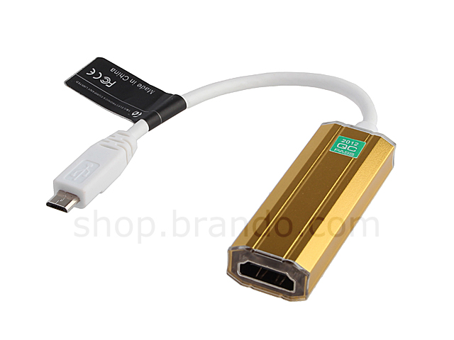 Luxury Gold HDMI output cable ( MHL cable ) for HTC & Samsung Android Phone