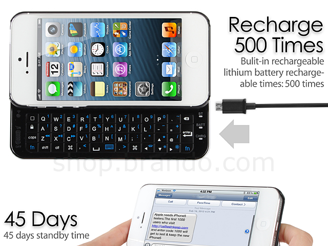 iPhone 5/5s Ultra-thin Slide-out Wireless Backlight Keyboard