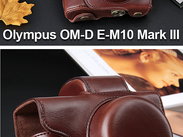 Olympus OM-D E-M10 Mark III Premium Protective Leather Case with Leather Strap