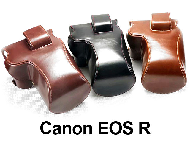 Canon EOS R Premium Protective Leather Case with Leather Strap