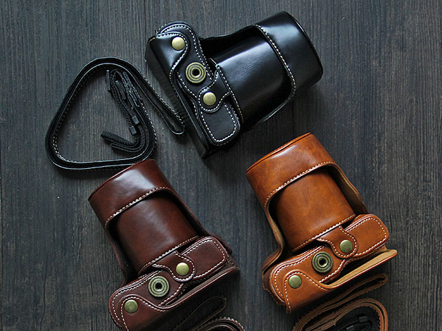 Fujifilm X-A7 (15-45mm) Leather Case with Leather Strap