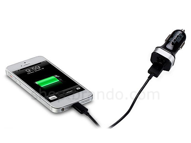 Portable Dual USB Car Charger W Lightning To USB Cable