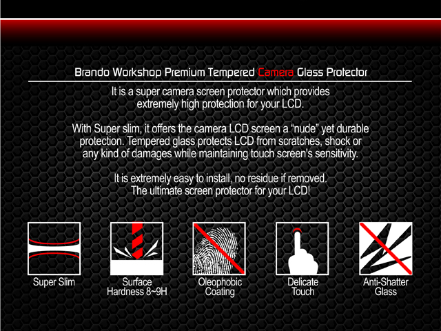 Brando Workshop Premium Tempered Glass Protector for Camera (Canon EOS-M)