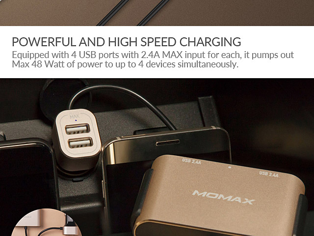 Momax Car Charger with USB Extension Hub (2+2 ports)