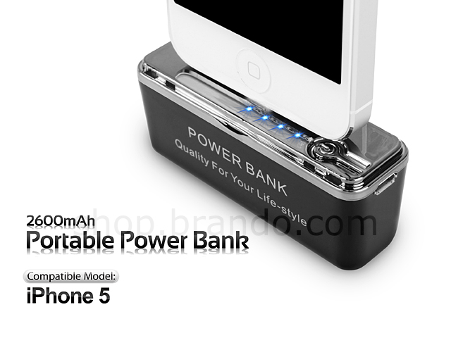 2600mah portable power bank for iphone 5. Black Bedroom Furniture Sets. Home Design Ideas